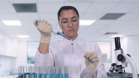 Żeński naukowiec egzamininuje błękitnego ciecz używać próbną tubki i mikropipetę Żeński badacz jest prowadzić kliniczny zbiory