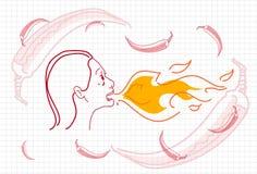 Żeński oddychanie ogień, Gorącego Chili pieprzu pojęcia nakreślenie ilustracji