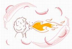 Żeński oddychanie ogień, Gorącego Chili pieprzu pojęcia nakreślenie ilustracja wektor