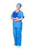 Żeński pielęgniarki mienia ochraniacz Fotografia Stock