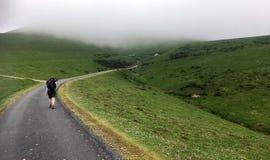 ?e?ski Pielgrzymi odprowadzenie Camino w g?r? Pyrenees w Francja obrazy stock