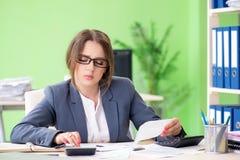 Żeński pieniężny kierownik pracuje w biurze obraz stock
