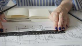 Żeński pracowników remisów plan z władcy i ołówka obsiadaniem w biurze zdjęcie wideo