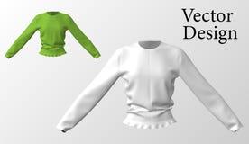 Żeński pulower z cienkim konem z round szyją Poluver z długimi rękami również zwrócić corel ilustracji wektora ilustracja 3 d Fotografia Stock