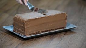 Żeński ręka rozmazów tort z czekoladową śmietanką zbiory wideo