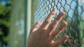 Żeński ręki chodzenie wzdłuż powierzchni siatka Ręka młoda kobieta metalu wzruszający druciany ogrodzenie Dziewczyny odprowadzeni zbiory