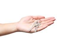 żeński ręki mienia klucz Zdjęcia Stock