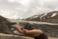Żeński ręki mienia węgiel zakłada Longyear lodowem który zobaczy w tle, Arktyczny krajobraz gleczer zdjęcie royalty free