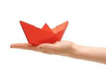 żeński ręki papieru statek Zdjęcie Stock