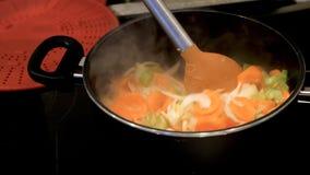 Żeński ręki sterowanie smaży świeże marchewek cebule kapuściane w niecki potrawce na nowożytnej elektrycznej kuchence Zdjęcie Stock