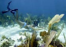 żeński snorkeler Zdjęcia Royalty Free