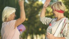 Żeński sprawność fizyczna trener daje wysokości pięć bawi się starszego kobieta bidon, matę i zbiory wideo