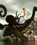 Żeński wojownik vs gigantyczna ośmiornica ilustracja wektor