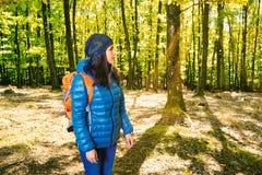 Żeński wycieczkowicz w lesie Obraz Stock