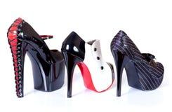 żeńskiego rzędu seksowni buty zdjęcia royalty free