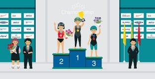 Żeńskiej atlety nagradzający medal ilustracja wektor