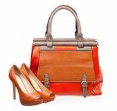 żeńskiej torebki otwarty pary butów palec u nogi Zdjęcie Stock