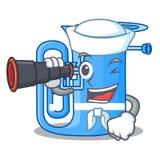 Żeglarz z obuocznym tuba w kształt śmiesznej kreskówce ilustracji