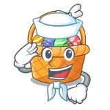 Żeglarza Easter koszykowa piłka w kreskówka kształcie royalty ilustracja