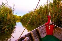 Żeglować przy zmierzchem w lagunie «los angeles Albufera « obraz royalty free