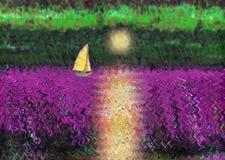 Żeglowanie jacht unosi się przeciw położenia słońcu ilustracja wektor