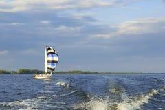 Żeglowanie jacht z pasiastym żaglem na rzece Obraz Royalty Free