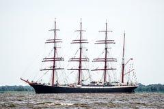 Żeglowanie statek Sedov żegluje folował morze po tym jak finał Wysocy statki Ściga się 2017 w Stettin na (0) Trzebiez Polska, Sie Zdjęcia Royalty Free