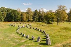Żelaznego wieka pogrzeby dzwonili Anundhog, blisko Vasteras fotografia stock