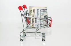 Żelazny kosz pieniądze Zakupy w gotówce zdjęcia stock
