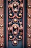 Żelazo bramy, ornamentacyjny skucie, forged elementu zakończenie zdjęcia stock