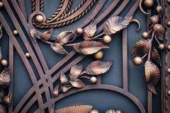 Żelazo bramy, ornamentacyjny skucie, forged elementu zakończenie fotografia royalty free