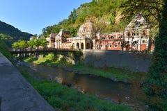 Żelazo forged most Austriacki imperiał Kąpać się od Baile Herculane, Rumunia Obraz Royalty Free
