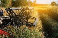 Żniwiarza rolnictwa maszyna i zbierać w ryż odpowiadamy działanie obrazy stock