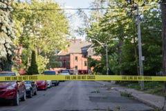 Żniwo masywna ulewa w aneksu terenie w Toronto fotografia stock