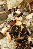 żołnierz piękna kobieta Zdjęcia Royalty Free