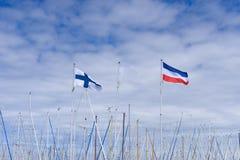 Żołnierz piechoty morskiej z holenderskimi i finnish flaga dmuchać wiatrem Obrazy Royalty Free