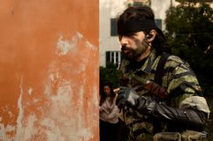 Żołnierz przy Lucca komiczkami 2017 i grami fotografia stock