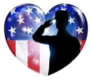 Żołnierz Salutuje Patriotycznego flaga amerykańskiej serce ilustracji