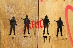 Żołnierze drawed na niektóre drewnie zdjęcie royalty free