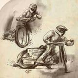 Żużel, motocykl ściga się - ręka rysującą ilustrację ilustracja wektor