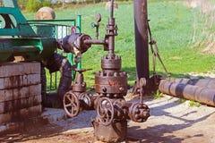 Żuraw - elementy nafciana stacja pomp Tansport i dystrybucja olej Technologia nafciany system transportu Stażowy manuał f Obrazy Stock