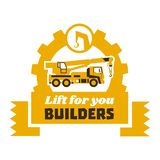Żurawia ciężarowy logo Robot budowlany również zwrócić corel ilustracji wektora Mieszkanie styl ilustracja wektor