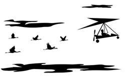 Żurawie i zrozumienie zmotoryzowany szybowiec ilustracja wektor