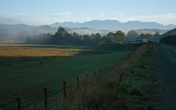 Żwir droga i łąka w ranku zaparowywamy dalej blisko jeziornego Hauruko w Southland w Południowej wyspie w Nowa Zelandia fotografia stock