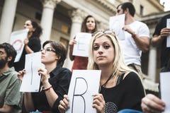 269 żyć manifestacja w Mediolan na Wrześniu, 26 2013 Obraz Royalty Free