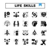 Życie i pracujący umiejętność glif projektujemy ikona set royalty ilustracja