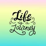 Życie jest podróży tekstem Nowo?ytny literowanie sztandar Wakacje i podróżować royalty ilustracja