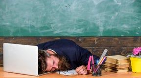 Życie nauczyciela wyczerpywać Spada uśpiony przy pracą Pedagog stresująca się praca niż średni ludzie Na wysokim szczeblu zmęczen obraz stock