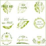 Życiorys, ekologio, Organicznie logu i ikono, etykietki, etykietki ilustracja wektor
