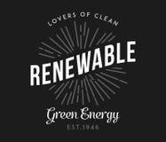 Życiorys i odnawialny zielony energetyczny biel na czerni ilustracji